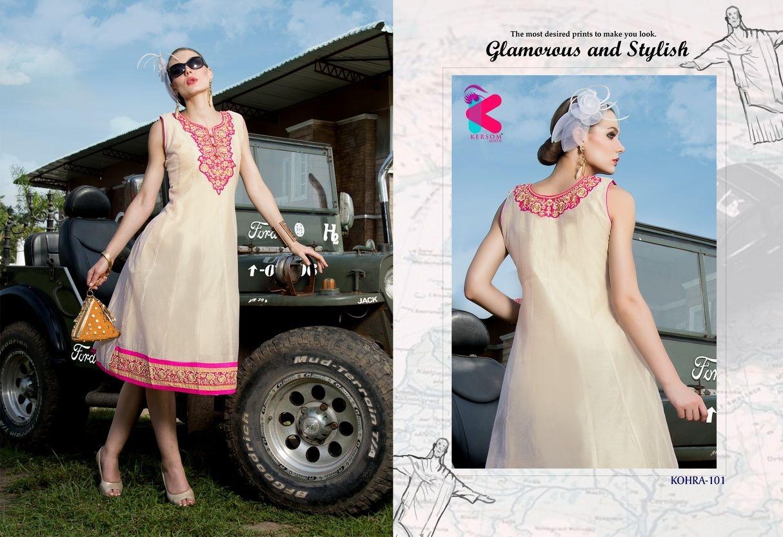 Presenting latest collections of Kersom Kohra Kora Silk Kurtis (9)